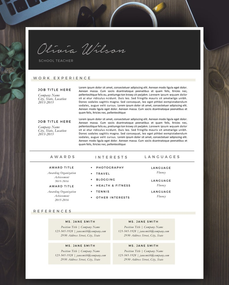 SALE on 2 or more 1+2 page resumes Instant Download Modern Resume Template cover letter Modern Resume Design for Word icons