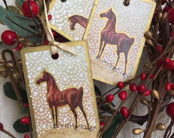 horses christmas ornaments christmas horse playing cards christmas tree decorations horse cards snow gold