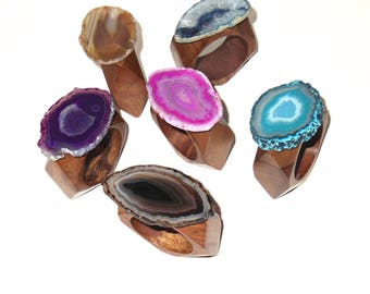 Agate Napkin Rings – Faceted Natural Wood - Natural Décor