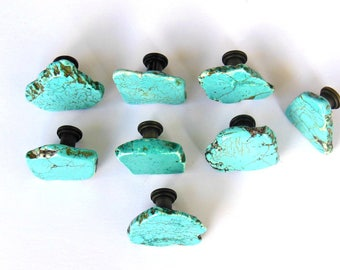 One (1) Knob - Turquoise Cabinet Knob - Free-Form Stone Slab Knob - Bohemian Appeal - Southwest Style - Home Decor