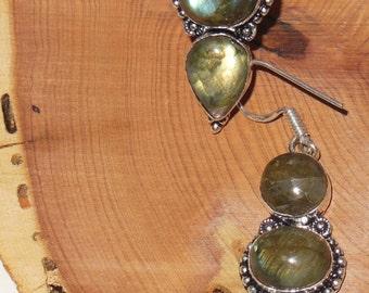 Fire Labradorite Dangling Chandelier Earrings