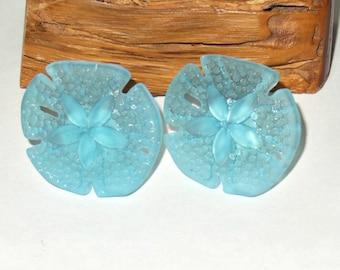 Aqua Blue Cultured Sea Glass Knobs - Sand Dollar Knobs -  - Beach Décor