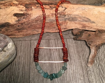 Beach Necklace, Southwest Necklace, Tribal Necklace, Boho Necklace, Handmade Necklace, Apatite Necklace, Wood Necklace, Native American