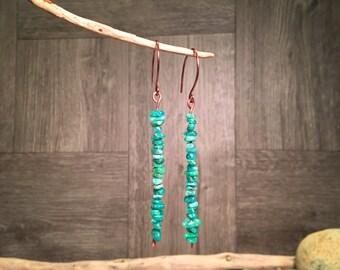 Gemstone Earrings, Stick Earrings, Southwest Earrings, Boho Earrings, Handmade Earrings, Tribal Earrings, Beach Earrings, Native American