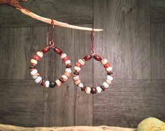 Gemstone Earrings, Beaded Hoops, Southwest Earrings, Handmade Earrings, Boho Earrings, Rustic Earrings, Wood Earrings, Hippie Earrings