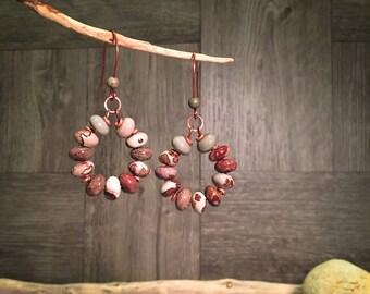 Gemstone Earrings, Southwest Earrings, Boho Earrings, Handmade Earrings, Rustic Earrings, Artisan Earrings, Hoop Earrings, Native American