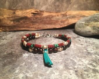 Southwest Bracelet, Boho Bracelet, Turquoise Bracelet, Handmade Bracelet, Tassel Bracelet, Tribal Bracelet, Double Bracelet, Native American
