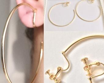 Half Crescent Hoop Earrings, Large Hoops, Clip On Hoop Earrings, Hoop Earrings 60 ×1.5 mm #30