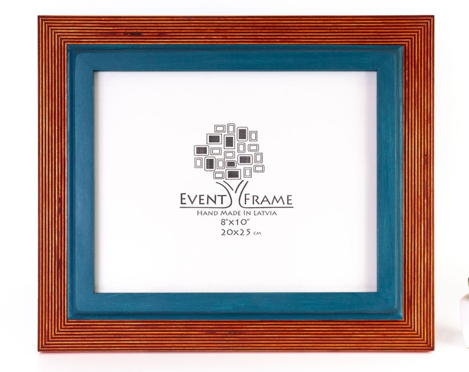 Double Orange + Blue Wooden Picture Frame