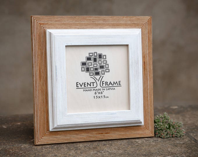 Double Natural+White Wooden Picture Frame