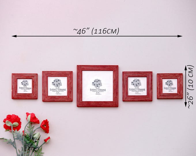 "Square Picture Frame Set of 5 Frames, Sizes 8x8"" 5x5"" 4x4"", Available Black, Yellow, White, Red, Green, Orange, Natural, Brown, Blue colors"