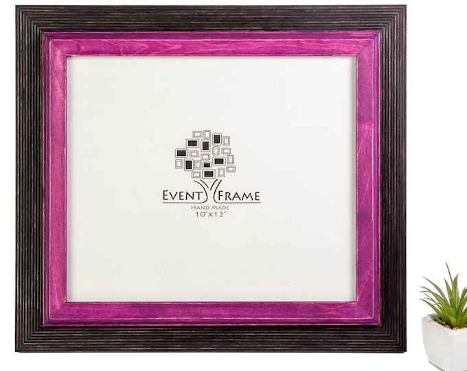 Double 1 Black + Purple Wooden Picture Frame