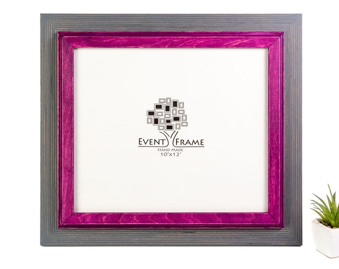 Double 1 Grey + Purple Wooden Picture Frame