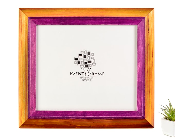 Double 1 Yellow + Purple Wooden Picture Frame