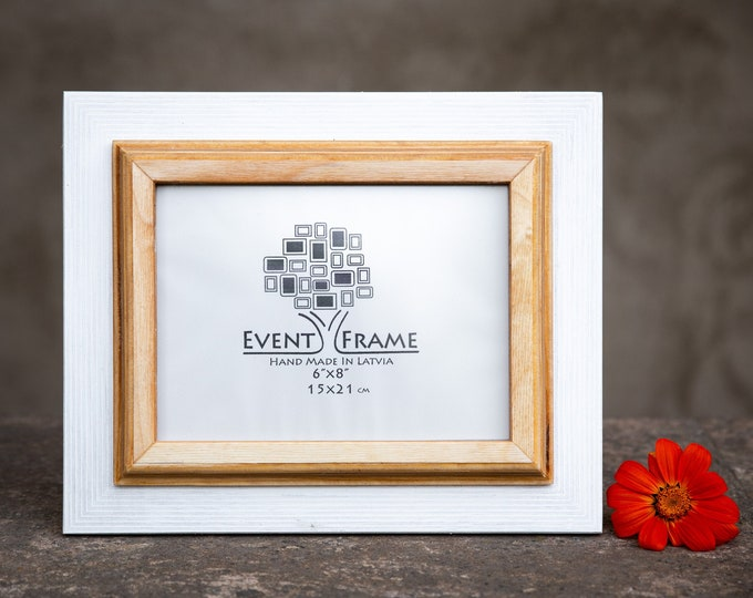 Double White + Natural Wooden Picture Frame