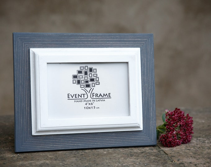 Gray + White Wooden Picture Frame, Double 1 style
