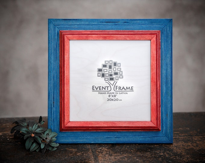 Double 1 Blue + Red Wooden Picture Frame