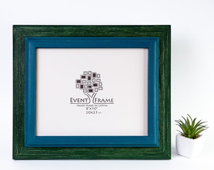 Double Green + Blue Wooden Picture Frame