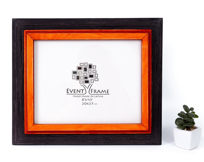 Double Black + Orange Wooden Picture Frame