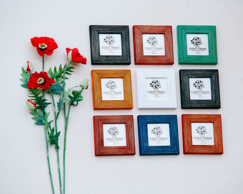 10x10 cm Frame Collage Square 4x4 Wooden Picture Frame SET Colors Black Red Green Blue Orange Yellow White Free EXPRESS SHIPPING In 4 Days