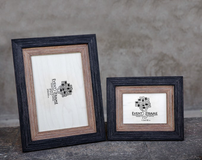 Double Mat Black-Natural Wooden Picture Frame