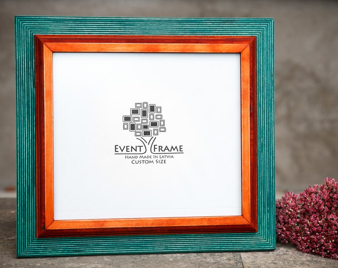 Double 1 Green + Orange Wooden Picture Frame