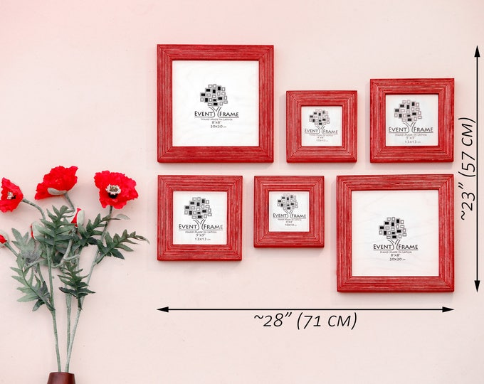 Gallery wall Picture Frame Set of 6 Square Photo Frames, Size 8x8 5x5 4x4, Natural Wood with Unique Linseed oil coloring, CHOSE YOUR COLOR