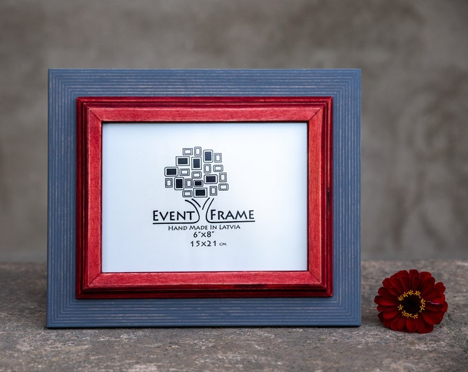 Double 1 Grey + Red Wooden Picture Frame