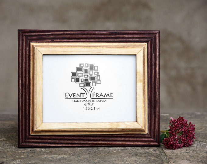 Double 1 Brown + Natural Wooden Picture Frame
