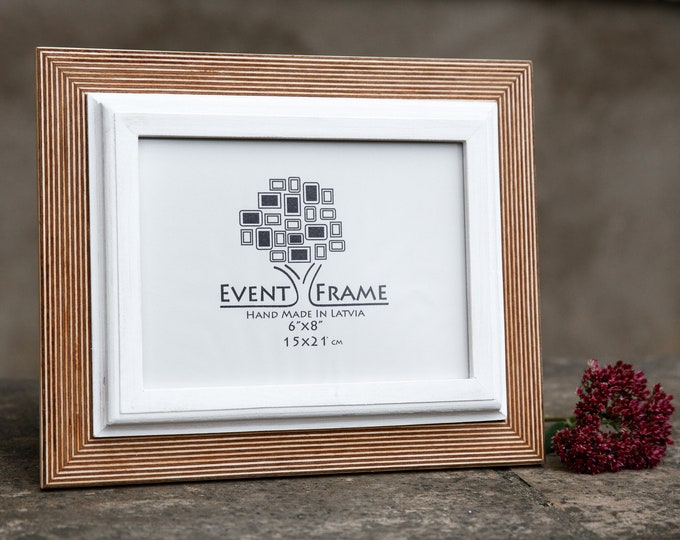 Double 1 Natural+White Wooden Picture Frame