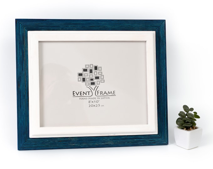 Double Blue and White Wooden Picture Frame