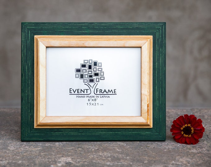 Double 1 Green + Natural Wooden Picture Frame