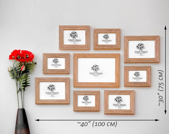 9 Picture Frame Set, Rustic Photo Frame Collage, Natural Wood, Stripy plywood, Handmade, Choose your color Sizes 8x12, 4x6, 6x8, 5x7