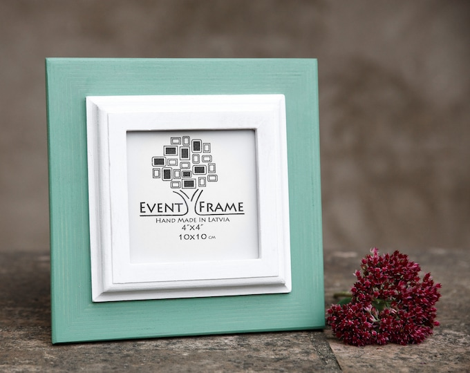 Double 1 Green + White Wooden Picture Frame