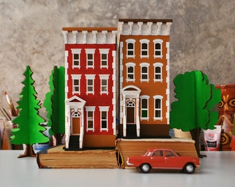 New York City Tealight House | Tiny Wooden House | Christmas Decoration | Nightlight / Toy Car Garage / Shelf Decoration House