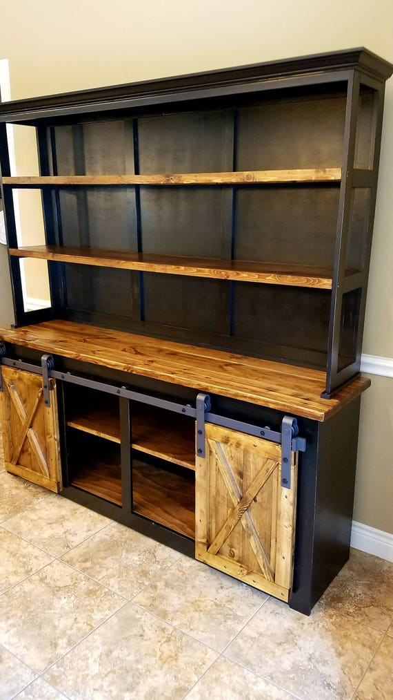 Barn Door Hutch And Buffet Solid Wood Farmhouse Rustic Hutch Sliding Barn Door