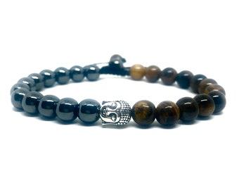 Men Ladies Tigers Eye Evil Eye Protection Bead Natural Stone Stacker Bracelet UK