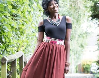 Maxi African print skirt, chiffon skirt, African skirt, long skirt, women's skirt, gathered skirt