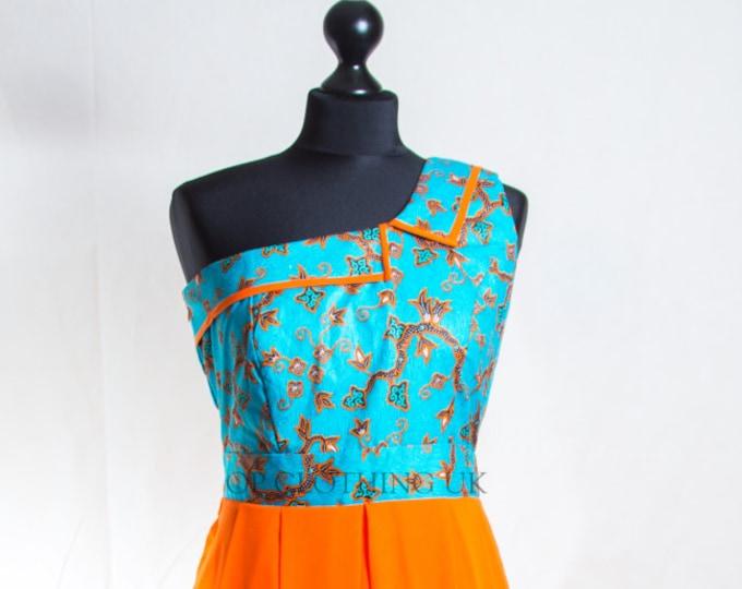 Women's orange dress, Maxi African print, Chiffon dress, Party dress, Ankara dress, one arm dress, sleeveless dress, African clothing