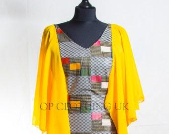 African print dress, short African Print dress, yellow dress, Party African dress, Ankara dress, women Kitenge dress, hand made dress