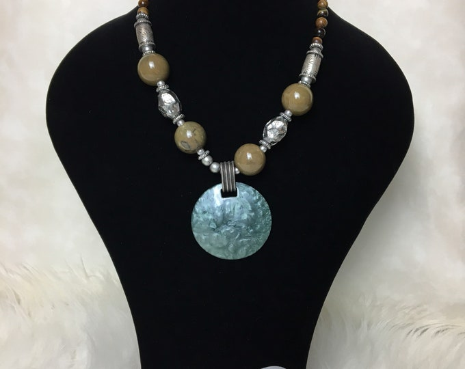 Beaded metallic Tribal necklace