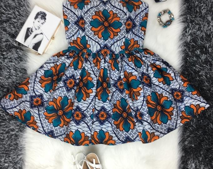 Iowa African print dress, blue & Orange