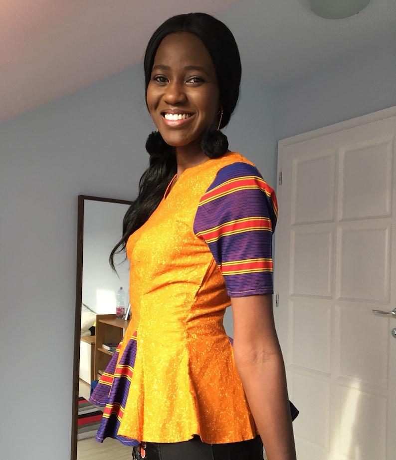 orange and blue blouse made in Uganda pleated top striped Women/'s African print top size 10 kikoyi Ankara