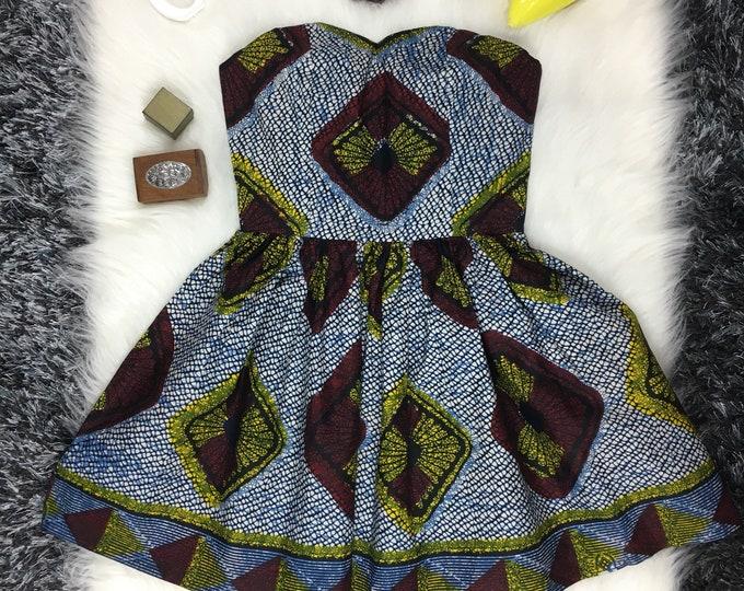 Iowa African print dress , Green & Brown