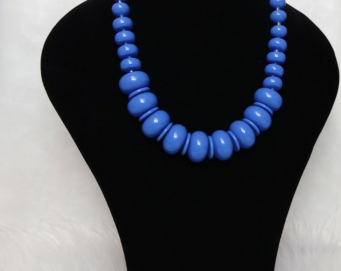 Blue African beaded necklace