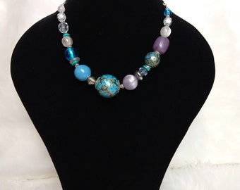 Beaded ladies necklace blue white and purple Tribal African