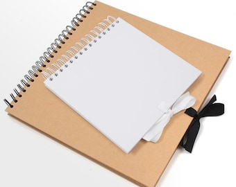 Blank Scrapbook   Notebook   Spiral Bound   Photo Album   Ribbon Closure Scrap Book   Unbranded Guestbook
