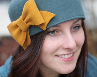 Winter Felt Millinery Hat, Hat With Bow, Felt Woman Hat, 1920s Hat, Cloche Hat, Vintage Style Hat, Retro Hat, Flapper Hat, Downton Abbey Hat