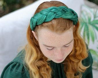 Green Woven Silk Headband, Braid Headpiece, Plaited Headband, Royal Headband, Hair Accessories For Women, Summer Headband, Oversized