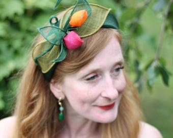 Floral Headband, Wedding Headpiece, Bridesmaid Hairpiece, Green Floral Tiara, Wedding Guest Headband, Feathers Headband, Derby Headband